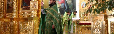 В праздник Святой Троицы в Волгодонском кафедральном соборе прошли Божественная литургия вечерня с чтением коленопреклоненных молитв
